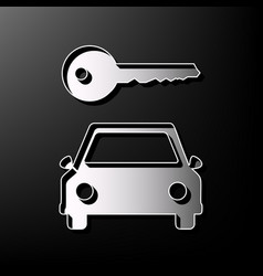 Car key simplistic sign gray 3d printed vector