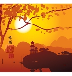 China landscape with Pagoda vector image