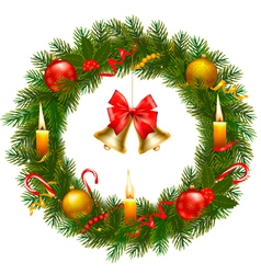 christmas wreath with christmas tree and bell vector image