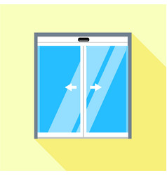 Double sliding glass doors icon flat style vector