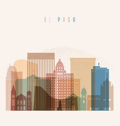 el paso state texas skyline detailed silhouette vector image vector image
