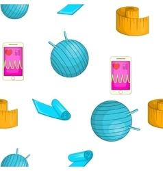 Fitness elements pattern cartoon style vector
