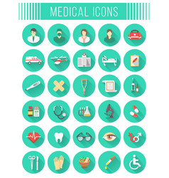 Flat round medical and healthcare icons vector