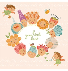 Floral background with funny fairies vector image vector image