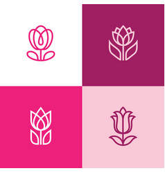 four tulip icons vector image