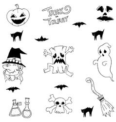 Halloween ghost doodle set vector