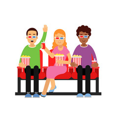 happy friends sitting in the cinema with popcorn vector image