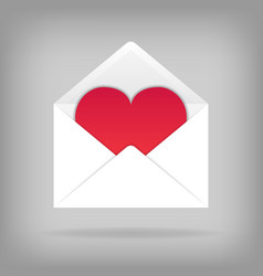 Heart in the open envelope vector
