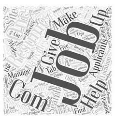 job sites dlvy nicheblowercom Word Cloud Concept vector image