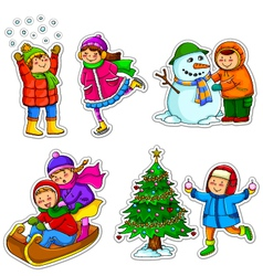 kids in winter vector image