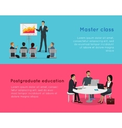 Master class and postgraduate education banners vector