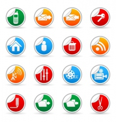 media sticker icons vector image vector image