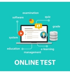 Online test exams quiz with computer laptop vector