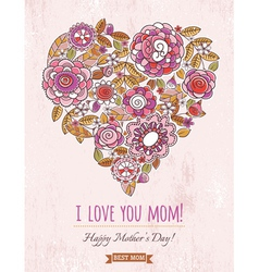 Pink mothers day card with big heart of flowers vector