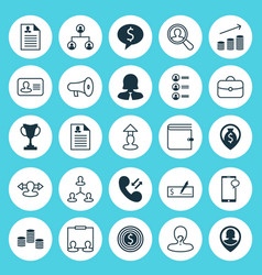Resources icons set collection of money vector