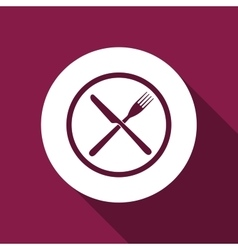 Restaurant icon crossed fork and knife flat icon vector