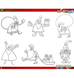 santa claus set coloring page vector image vector image