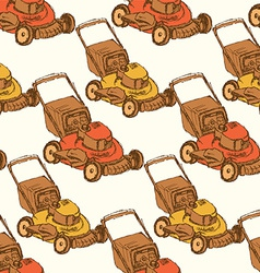 Sketch lawn mover in vintage style vector
