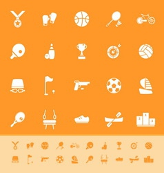 Sport game athletic color icons on orange vector image