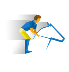 Sportsman riding a horse equestrian sport vector