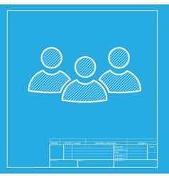 Team work sign white section of icon on blueprint vector