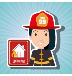 woman fire house icon vector image