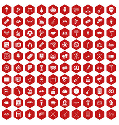 100 meeting icons hexagon red vector