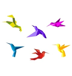 Doves and hummingbirds vector
