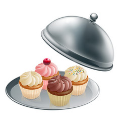 Cupcakes on silver platter vector