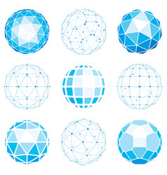 Set of abstract 3d faceted figures with connected vector