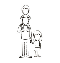 Blurred silhouette caricature faceless dad with vector