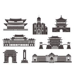 East asia isolated asian buildings on white vector