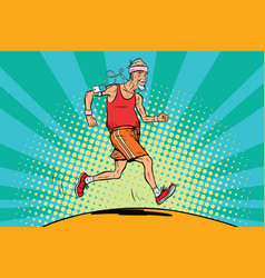 The old man runner healthy lifestyle vector