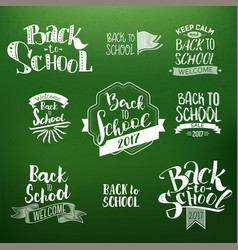 back to school calligraphic designs set vector image