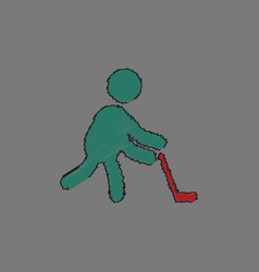 silhouette of athlete practicing hokey in vector image