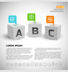 3d cubes and business icons background vector