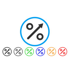 Growing percent rounded icon vector