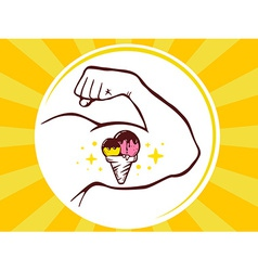 Strong man hand with ice cream icon on ye vector