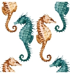 Watercolor seahorse pattern vector