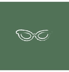 Eyeglasses icon drawn in chalk vector