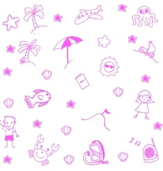 Icon set summer beach doodle art vector