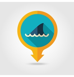 Shark fin pin map flat icon summer vacation vector