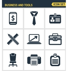 Icons set premium quality of basic business vector