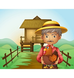 An old man with a rooster vector