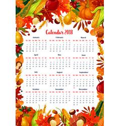 autumn harvest 2018 calendar template vector image vector image
