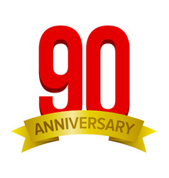 Big red number 90 with text anniversary below vector