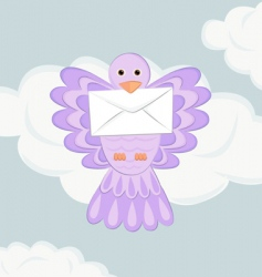 bird with mail vector image vector image