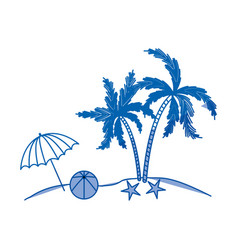 blue shading silhouette of island with umbrella vector image