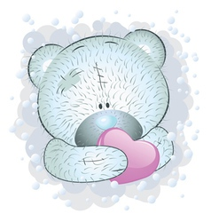 Blue teddy bear with heart vector image vector image