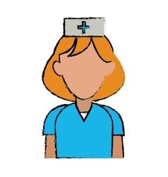Cartoon nurse uniform hat cross attention vector